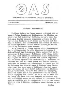 Det første klubblad er fra december 1945